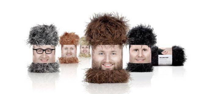 """A marca de lãs """"Rellana"""" conseguiu fazer o que nenhuma marca de lã consegue: se destacar. Olha a criatividade e o bom humor por trás dessa embalagem que imita barbas e cabelos!"""